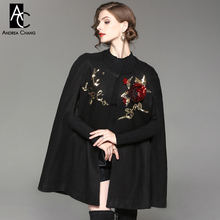 autumn winter woman trench coat cloak 3d red flower golden letter beading pattern black wool cloak fashion vintage gift cloak(China)