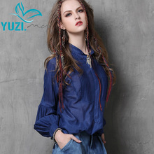 Blusa Feminina 2017 Yuzi Autumn New Vintage Silk Blouse Stand Collar Lantern Sleeve Women Blouses B9535 Womens Tops Fashion