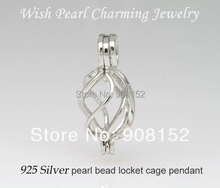925 Silver Twisted Heart Drop Shape Pearl /Gem Bead Locket Cage, Sterling Silver Pendant Charm for DIY Bracelet Necklace Jewelry