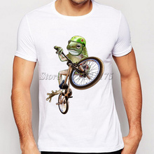 new arrivals 2017 men's creative funny crazy frog printed t-shirt funny animal tee shirts Hipster cool tops(China)