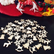 50pcs/lot 6 Designs 20mm Natural Wood Christmas Ornaments Reindeer Tree Snow Flakes Rocking Horse Xmas Bells DIY Decorations(China)
