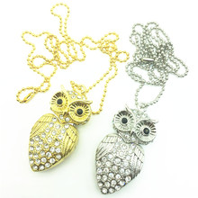 Wholsale USB Flash Drive Metal Diamond Owl Pendrive Nighthawk Pen Drive 8GB 16GB 32GB USB Stick Gift USB Key Chain Necklace(China)