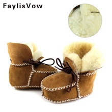 Winter Baby Boys Shoes Sheepskin Genuine Leather Boots Infants Warm Real Fur Wool First Walkers Newborn Girls Booties Sneakers(China)