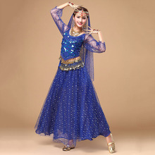New Arrival Belly Dancing Clothes Women Indian Dress Bollywood Dance Costumes Top+Skirt+Waist Chain+Veil&Headwear