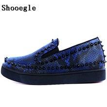 SHOOEGLE New Rivets Printing Snakeskin Men Loafers Breathable Slip On Spikes  Men s Flat Shoes Fashion Handmade Man Casual Shoes 05e86101b16e