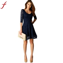 Fashion Lace Dress 2017 Sexy Lady Women Office Wear Half Sleeve Party Evening Short A-Line Mini Dress#LSN
