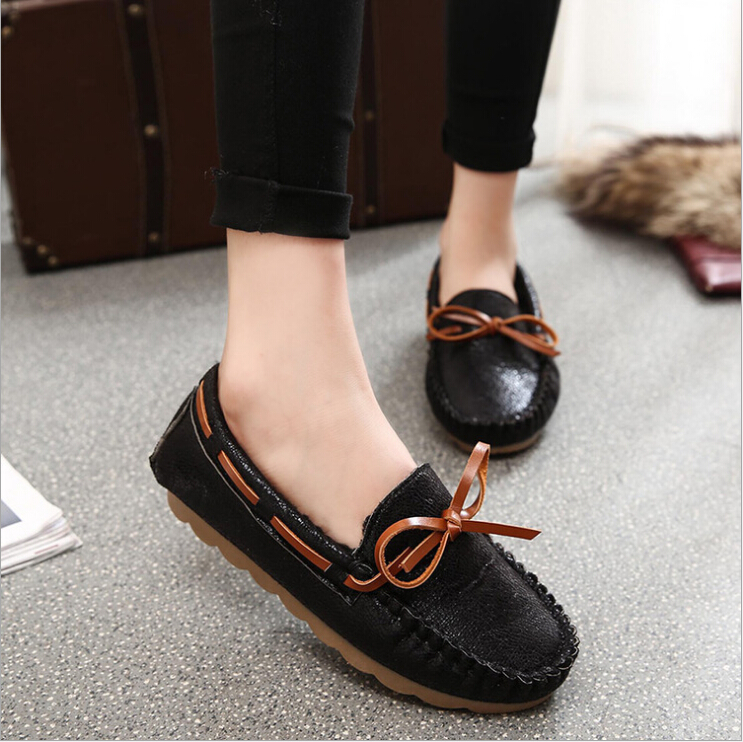 2017 Patent Leather Women Loafers Warm Fur Bowtie Mocassins Round Toe Lace Up Boat Shoes Lace up Flats Zapatos Mujuer<br><br>Aliexpress