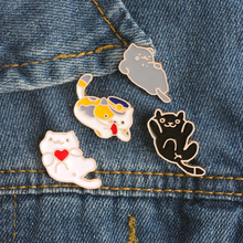 Fashion Creative 4 Style Enamel Pin Cute Mini Cat Metal Brooch Cartoon Funny Animal Brooches Denim Clothes Badge Pins Button(China)