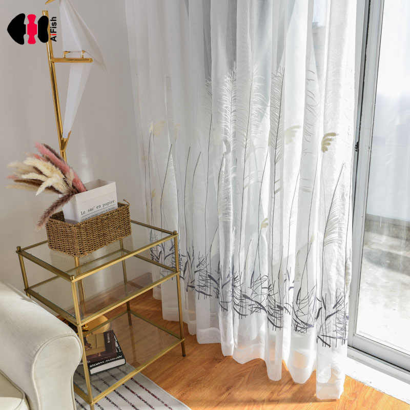 Chinese Rustic White Reed Embroidered Curtains Simple Modern Wedding Bedroom French Curtain Drapes Panel WP065C