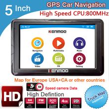 5 inch HD GPS Car Navigation CPU 800MHZ FM/8GB/DDR3 2017 Maps For Europe/USA+Canada TRUCK Navi Camper Caravan