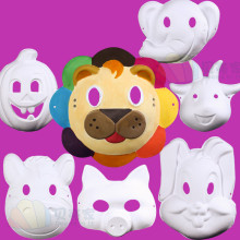 10pcs/lot New Full-face Plain White Color Paper Match Masks Children DIY Painting Mardi Gras Mask