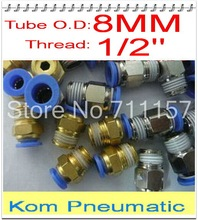 "Wholesale 100pcs/lot Pneumatic 8mm Tube Push In 1/2"" Quick Air Fitting Connect Hose Pipe One Touch Connector Joint PC8-04"