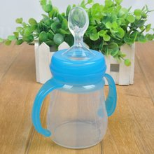 Newest Infant Silica Gel Baby Feeding Bottle With Spoon Food Supplement Rice Cereal Bottle