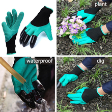 1Pair Practical Rubber Polyester Builders Garden Work Latex Gloves with 4 ABS Plastic Claws Garden Gloves For Digging & Planting(China)