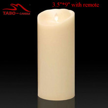 9 Inch Flickering Flameless LED Candle Light Free Remote for Hallowmas Xmas Party Wedding Safety Home Bar Decoration