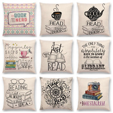 Hot Sale Happy Days Nice Tea Reading Good Books Beautiful Life Gorgeous Words Decorative Letters Cushion Decor Sofa Throw Pillow