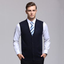 Cardigan Vest 2017 New Smart Casual Cardigan Vest Autumn Fashion Brand V-Neck Slim Fit Knitting Men's Cardigan And Men Pullovers(China)