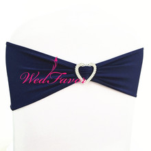 WedFavor 100pcs Navy Blue Stretch Lycra Chair Sash Bows Elastic Spandex Chair Band Ribbon With Heart Buckle For Hotel Wedding(China)