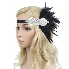 Retro 1920s Black Feather Headpiece Beaded Sequined Hairband Great Gatsby Flapper Headband