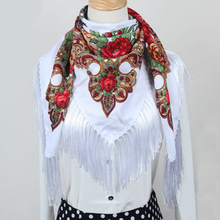 hot sale new fashion woman Scarf square scarves long tassel floral printed Women Wraps Winter lady shawls free shipping FF010(China)