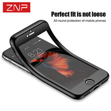 ZNP 360 Full Body Soft Case For iPhone 7 6S 6 plus Silicone Protective Protect Cover Cases for iPhone 6 7 Plus case with glass
