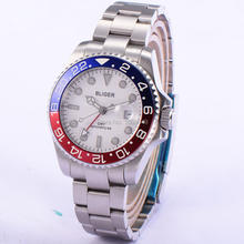 BLIGER 43mm Titanium Bezel steel watch casing white dial steel strap  Red GMT sapphire automatic Date Day men's watches
