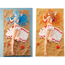 Anime Sword Art Online 2 Yuuki Asuna Figure 18CM Red Blue Swimsuit Sexy Brinquedos Pvc Action Figure Collectible Model Kids Toys