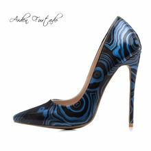 Arden Furtado 2017 extreme high heels 12cm shoes woman office shoes stilettos heel slip-on fashion ladies shoes big size 40-45(China)
