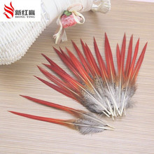 100pcs a pack pheasant feathers red sword fly fishing tying clothing hats earrings accessories accessories feather materials