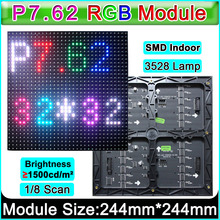 SMD P7.62 RGB LED module 1/8 Scan,Indoor/Semi-outdoor full color LED display panel,Customized P5 P6 indoor full color LED module