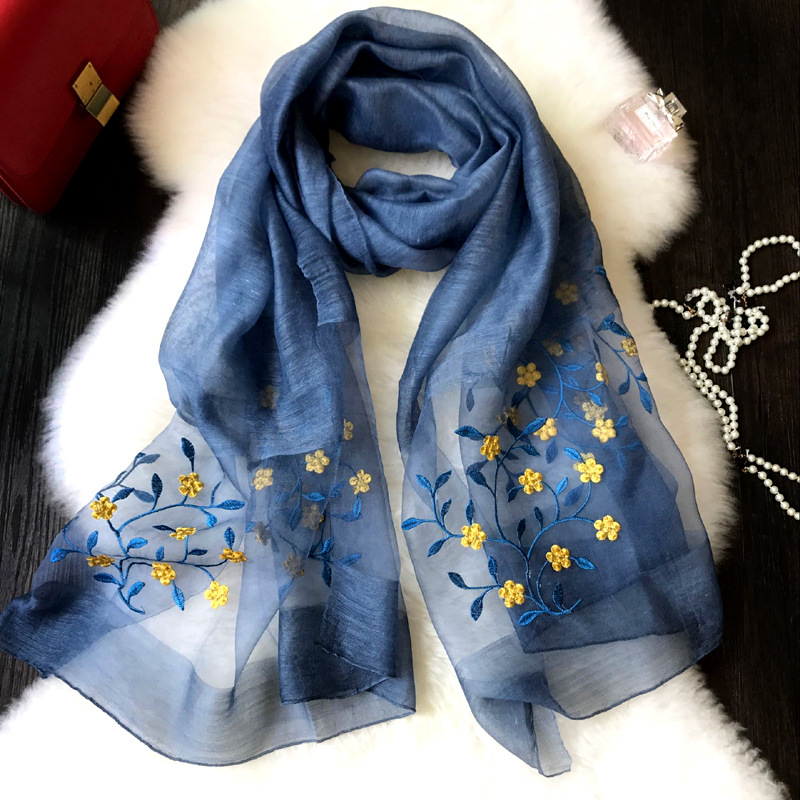 190x90CM Luxury Brand Scarves Fashion Embroider Flower Shawl Hot Sale Women Thin Soft Genuine 50% Silk 50% Wool Scarf Shawl