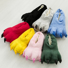 Funny winter Family Matching shoes thickening antiskid fluffy kids slippers coral fleece dinosaur claws shoes girl/boys slippers