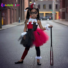 Red Black Harley Quinn Baby Tutu Dress Superhero Inspired Girls Purim Party Costume Handmade Children Fancy Dress(China)