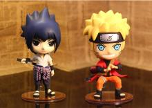 Naruto Cosplay Konoha Sasuke Uchiha Naruto Uzumaki 19cm/7.5'' Boxed Q Version PVC Garage Kit Action Figures Toys Model