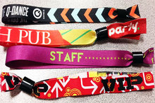OEM Dye Sublimation Heat tranfer printing Fabric Woven wristbands for Cool Events with Metal Lock Free shipping
