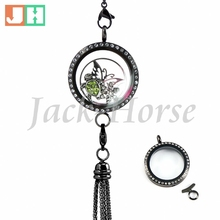 New Arrival Large Graphite Tone Linkable glass floating charm locket pendant with crystal necklace stainless steel