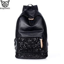 BAIJIAWEI Fashion Women Backpack Big Crown Embroidered Sequins Backpack Women Leather Backpacks High Quality Girls School Bags(China)