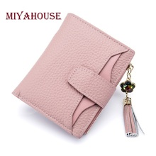 Miyahouse Cow Genuine Leather Female Wallets Tassel Diamond Small Wallet Ladies Zipper Coin Purses Women Card Holder Money Bag(China)