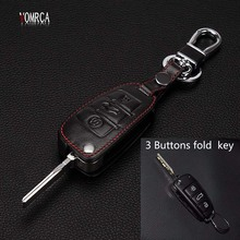 2017 Hot sale classic design  100% leather car Key Cover Fit for Audi A3 S3 S4 S5 audi TT TTS Q2 Etc 3 buttons remote control