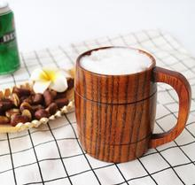 Fashion wooden beer mugs with handle coffee mugs environmental protection material exquisite home decorations drinkware DH12(China)