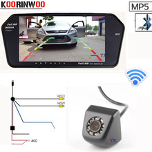 Koorinwoo 2.4G Wireless HD CCD 7Inch Monitor Video1024*600 Bluetooth MP5 FM Car Rear view Camera Reversing Parking Kit For car(China)