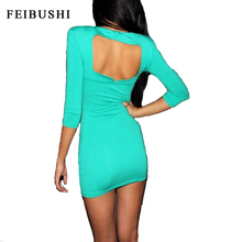FEIBUSHI Women Spring Hot Sexy Nightclub Wear Backless Hollow Out Shoulder Open Back Bodycon Mini Dress Vestidos