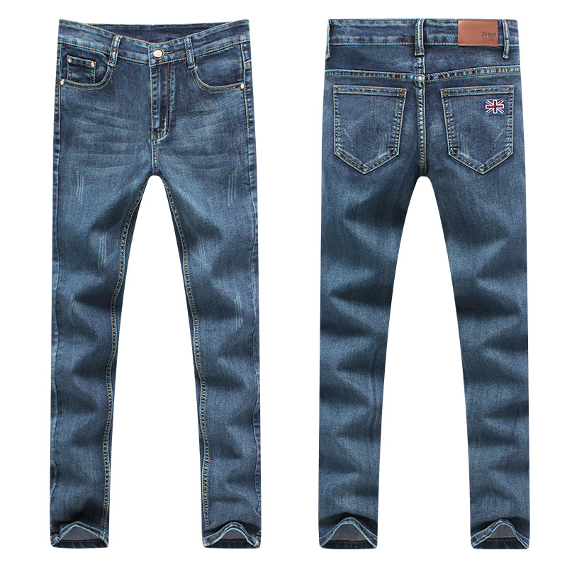 Mens Jeans Straight Famous Brand Jeans Mid Waist Elasticity Jeans Slim Homme 2017 New Pencil Pants MenОдежда и ак�е��уары<br><br><br>Aliexpress