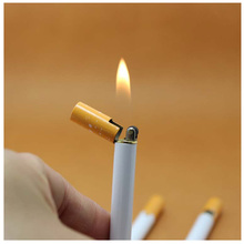 Fashion Creative Mini Cigarette- shaped Butane Flame Lighter Metal Torch Lighter Novelty Gadget Gift Christmas Present NO GAS