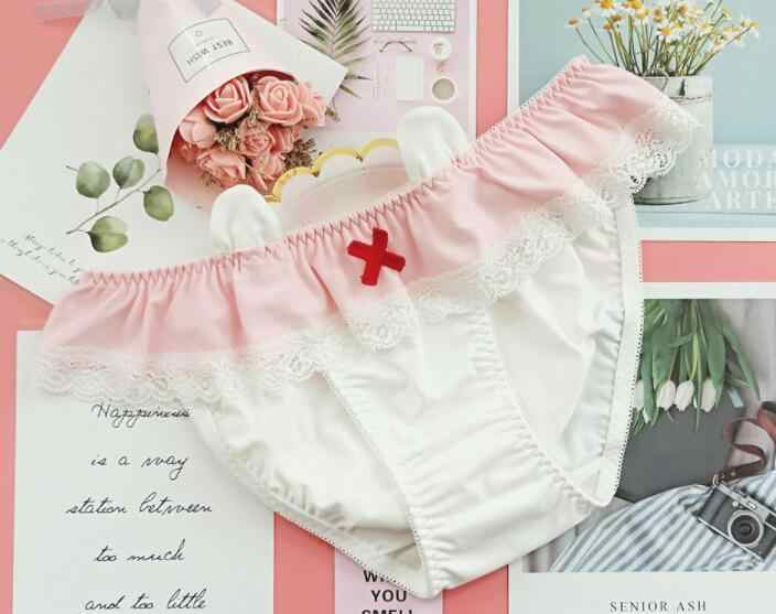 ... del conejo azul y blanco rayas lindas niñas escritos orejas de mujeres  ropa interior desgaste diario leche seda Pantsu en Aliexpress.com  d95dc152dae2