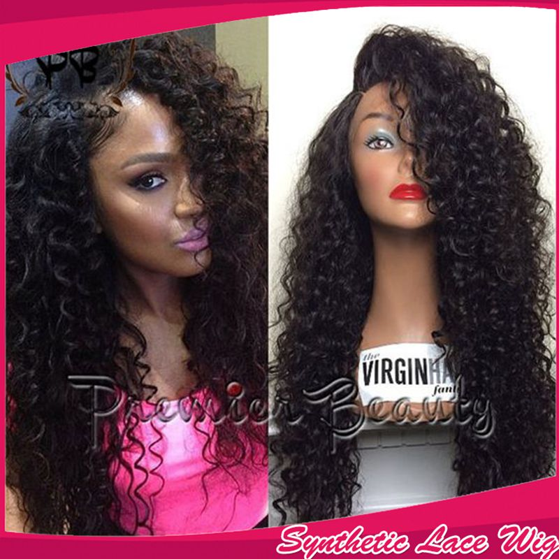 Sexy Quality Kinky Curly Hair Fashion Brazilian Synthetic Lace Front Wigs With Baby Hair 180% Density Cheap Wigs For Black Women<br><br>Aliexpress
