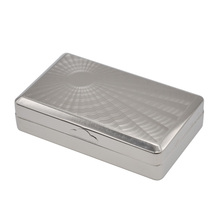 1pc Big Size Silver Metal Tobacco Box ( 100*60MM ) Storage Pocket Size Cigarettes Case With 70MM Papers Holder(China)