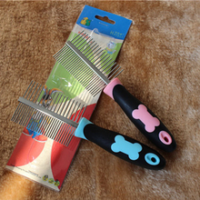 #Cu3 Anti-static Pets Two-sided Straight Comb Steel Pins Dog Bones Grooming Brush Superlight  5*18cm for long hair pets