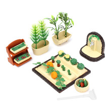 Modern Plastic Handmade Miniature DollHouse Furniture Gardening Vegetables Outdoor Accessory Set DIY Ornaments(China)