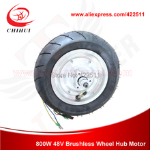 "Electric Scooter Hub Motors  800W 48V Brushless Hub Motor with 90/65-6.5 On-road Tire 12"" Wheel Motor (Electric Scooter Motors)"